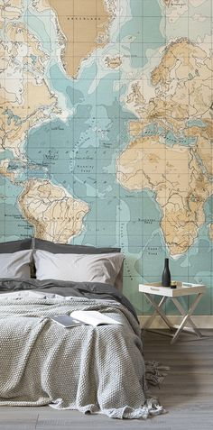 After the vintage look in your bedroom? This world map mural showcases sumptuous caramel hues with turquoise oceans. These subtle tones make for a calming bedroom space that exudes sophistication and style.