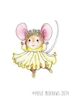 Ballerina Mouse -  Watercolor Giclee Print, Original Artwork, Children's illustration, Nursery Print