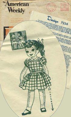 Vintage Sewing Pattern for Doll | Mail Order 7256 | Year 1959 | Doll Size 32"