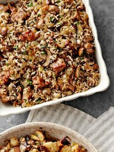 Wild Rice and Basmati Dressing with Sausage and Sage    #thanksgiving #recipes #stuffing