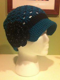 Women's Brimmed Hat with Flower - Teal w/ Sparkle Black Flower on Etsy