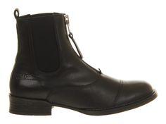 Ten Points Pandora Front Zip Black Leather - Ankle Boots