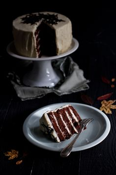 Chocolate layer cake and cream cheese frosting