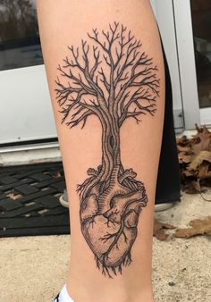 Dotwork Heart Tree by Kelly Killagain at 777 Tattoos - Manahawkin NJ