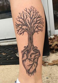Dotwork Heart Tree by Kelly Killagain at 777 Tattoos - Manahawkin NJ
