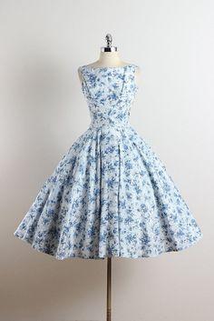 1950's 'Sapphire Fronds' Floral Print Cotton Dress