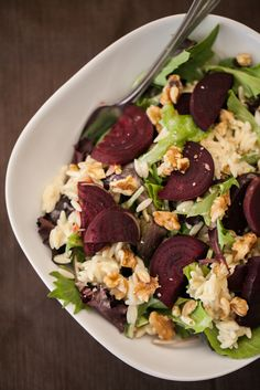 Naturally Ella's Roasted Beets, Blue Cheese Orzo, & Walnut Salad. I might be inclined to replace the blue cheese with goat cheese or feta. Not a huge blue cheese fan.