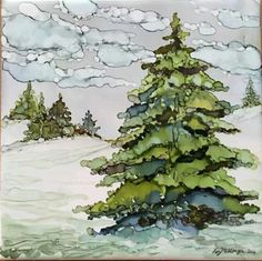 Liz Messenger Watercolor Pictures, Watercolor Trees, Watercolor And Ink, Watercolor Paintings, Watercolors, Alcohol Ink Tiles, Alcohol Ink Crafts, Alcohol Ink Painting, Ink In Water