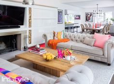 Take a Peek Inside Coco Rocha's Sprawling Stone Cottage in Westchester - THE LIVING ROOM  - from InStyle.com