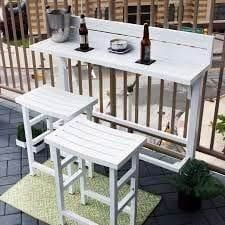The Balcony Bar - 3 Piece Furniture (White), Patio Furniture White Patio Furniture, Patio Furniture Sets, Apartment Furniture, Rustic Furniture, Furniture Design, Furniture Layout, Furniture Nyc, Furniture Ideas, Furniture Stores