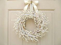 Door Wreath Wedding Wreath Spring Wreath Pearl by AWorkofHeartSA