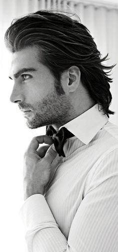 reference for Fabrizio Caprice / looks / hair / vibe ~ a combed back long hair style. Dressy, upscale, formal.
