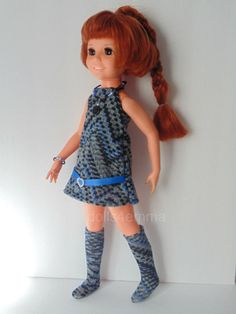 """'CHECK IT OUT!' - One of a kind ensemble: Dress, Boots and Jewelry Set for 18"""" Crissy dolls - available on Ebay - by DOLLS4EMMA - $16.99"""