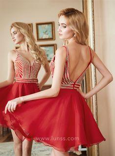 6f4643dab1 Metallic bodice red chiffon curved V neck short A line homecoming dress  Graduation Dresses