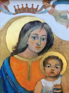 Arcabas Vierge à l'enfant Ancient Goddesses, Bible Illustrations, Mama Mary, Jesus Art, Blessed Mother Mary, Mary And Jesus, Mother Goddess, Madonna And Child, Children Images