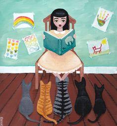 Story Time for Kittens Original Cat Folk Art by KilkennycatArt, $75.00