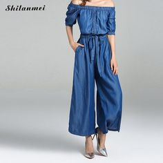 Cheap jeans overalls, Buy Quality bandage romper directly from China long playsuit Suppliers: 2017 Elegant Short Sleeve Denim Jumpsuit Women Sexy Off Shoulder Bandage Rompers Wide Leg Long Playsuit Casual Jeans Overalls