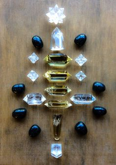 Quartz, Citrine, Nuummite and Apophyllite Crystal Grid by Woodlights Woudlicht
