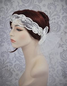 Lace Bridal Head Piece, Bohemian Bridal Accessory, Boho Veil, Lace Bridal Cap, Ivory bridal Headband, Ivory, White, Any Color - 107HB