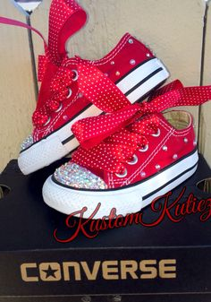 Minnie Mouse Birthday shoes red custom converse by KustomKutiez