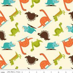 Riley Blake - Dinosaur Toss (Cream) Fabric