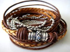 Boho Natural Leather Wrap Bracelet with Silver by LeatherDiva, $41.00