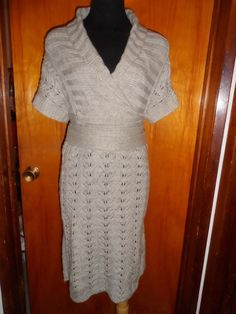 Victoria's Secret Moda International Tan Pointelle Crochet Sweater Wrap Dress M #ModaInternational #WrapDress #Casual
