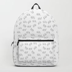 Fat cats - black and white Backpack by wackapacka Black And White Backpacks, Fat Cats, Cat Pattern, Crazy Cat Lady, Modern Minimalist, Cat Love, One Size Fits All, Fashion Backpack, Back To School