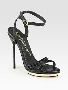 Alice + Olivia Paola Lizard-Print Leather Platform Sandals-- A Great night time simple sandal