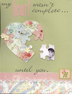 Newborn - Heart Puzzle ~ This would work nice with pet pictures as well, past pets in the heart and a new puppy or kitten as the missing piece - great picture idea. Scrapbook Bebe, Baby Girl Scrapbook, Baby Scrapbook Pages, Wedding Scrapbook, Scrapbook Page Layouts, Scrapbook Supplies, Scrapbook Cards, Scrapbooking Ideas, Scrapbook Sketches