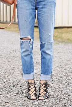 camo meets couture: distressed denim and lace up pumps