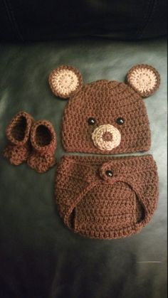 Crochet Newborn Bear Outfit - Baby Girl or Boy Woodland Costume - Photo Prop - Beanie Hat, Diaper Cover, and Booties. Handmade & Homemade