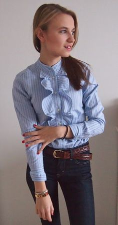 Outfit, baby blue and jeans