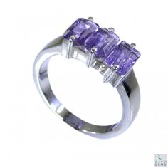 Riyo Adulation Amethyst 925 Solid Sterling Silver Purple Ring Srame6-2017