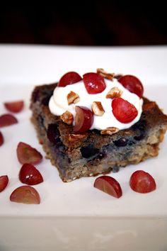 Blueberry-Grape Barley Bake: 1 piece: 9.1 grams 2 ounces nonfat vanilla Greek yogurt: 4.8 grams 8 grapes: 6.1 grams  Total: 20 grams of sugar Photo: Jenny Sugar