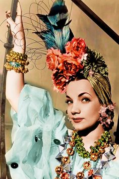 Carmen Miranda  I had never seen Carmen Miranda as a minhota, a woman from Minho ( which she was actually) but this pic is vibing with those Minho costumes and I can totally see the northern Portugal gone tropical there.