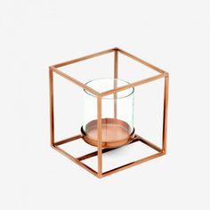 Photophore en cuivre, métal et verre. 15,90 euros Monoprix