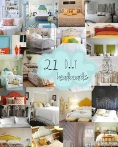 21 DIY Headboards! Headboards are an easy way to dress up a bedroom! You can even make one the doesn't attach to the wall- making for an easy move!