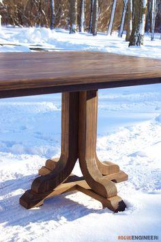 J-Pedestal Dining Table Pedestal Dining Table, Dining Table Design, Dining Tables, Dining Room, Retro Home Decor, Diy Home Decor, Palette, Diy Table, Wood Table