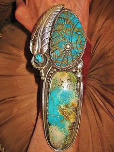 NATIVE-AMERICAN-TURQUOISE-LEATHER-BRACELET-238g-Sterling-Silver-CHAVEZ-6-5-034-wide