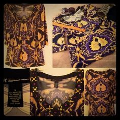 NWOT INC. International Concepts Tunic Top Doesn't this vivid print fabric just scream vintage Pucci ? ... Except that the top is NWOT, and it's from the fabulous INC. International Concepts collection !!   Smock-style, bejeweled V-neckline and tunic length, it offers many coordinating options .. Dressy, or with jeans !!!  Splendid, vivid dark purple & bright orange combo.  I can see this worn loose with a floppy sun hat, white capris and sandals to make the colors pop !!! INC International…