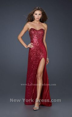 Sparkly, red, strapless dress with slit up the leg