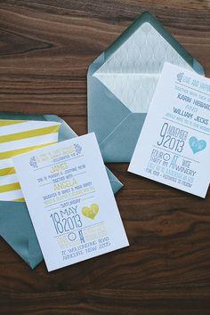 Letterpress Wedding Invitation: Modern teal and by WideEyesPaperCo