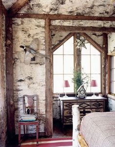 Handmade Four-Poster Bed; like the placement of the logs on the wall....