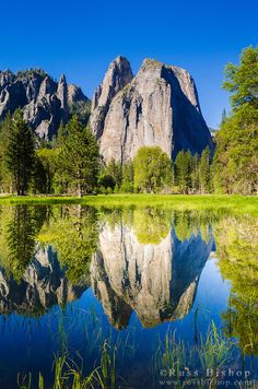 Cathedral Rocks reflected in pond, Yosemite National Park, California USA / Copyright © Russ Bishop