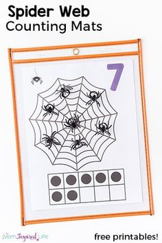 These spider web counting mats are so much fun and great way to teach counting this fall! Add them to your math centers or just use them with your kids at home. via geisha halloween, christmas halloween, halloween birthday food ideas Fall Preschool, Kindergarten Math, Preschool Activities, Preschool Printables, Preschool Classroom, Classroom Ideas, Free Printables, Theme Halloween, Halloween Activities