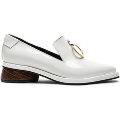 Reike Nen Leather Ring Square Loafers (405 CAD) ❤ liked on Polyvore featuring shoes, loafers, crocs loafers, loafers moccasins, croc footwear, crocodile leather shoes and genuine leather shoes