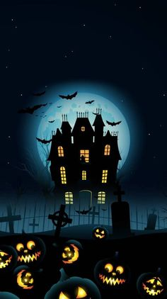 Happy Halloween Wallpapers HD Free for Android, iPhone - Halloween Images, Graphics & Printable Pictures - Halloween Imagem, Casa Halloween, Halloween Artwork, Halloween Painting, Halloween Haunted Houses, Halloween Pictures, Happy Halloween, Cute Fall Wallpaper, Halloween Wallpaper Iphone