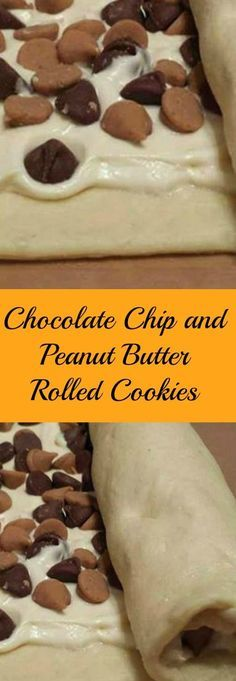 Chip and Peanut Butter Rolled Cookies So easy when made with crescent rolls, cream cheese, peanut butter and chocolate chips. Just roll and bake.So easy when made with crescent rolls, cream cheese, peanut butter and chocolate chips. Just roll and bake. Crinkle Cookies, Roll Cookies, Yummy Cookies, Cookies Et Biscuits, Cookie Bars, Cookie Desserts, Easy Desserts, Delicious Desserts, Dessert Recipes
