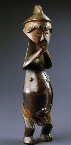 Africa | Statuette from the Hungana people of DR Congo | Wood, metal and fabric